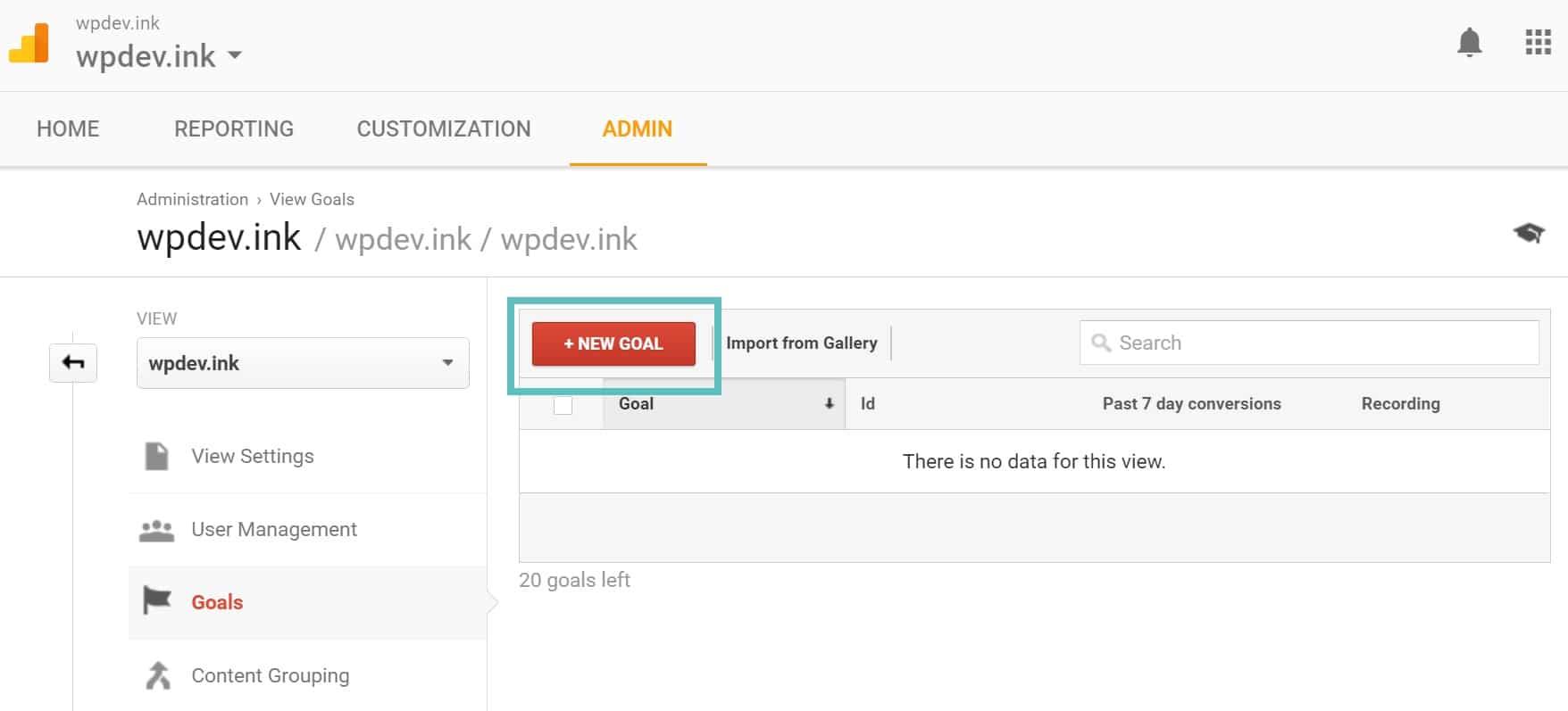Nytt mål i Google Analytics