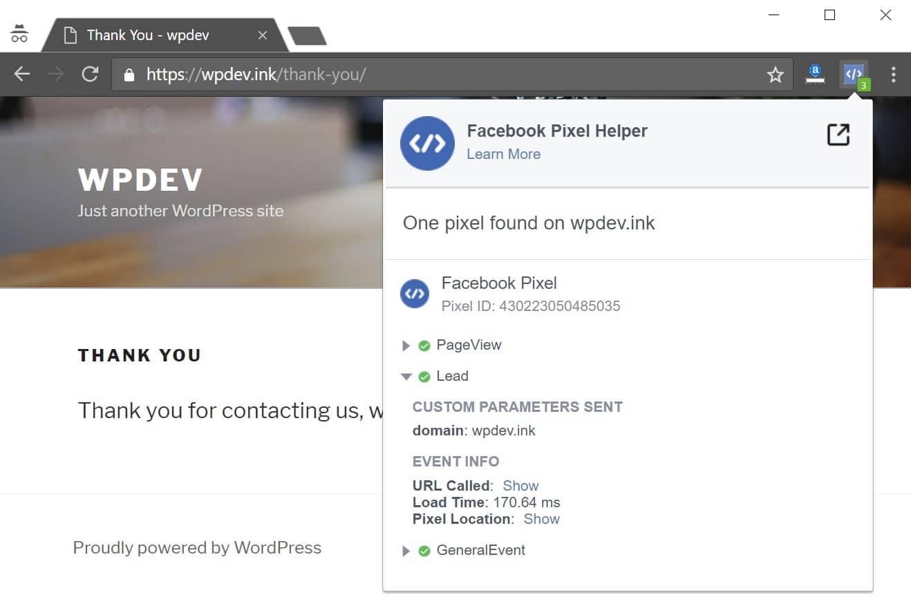 Verifiera FaceBook-leadhändelse