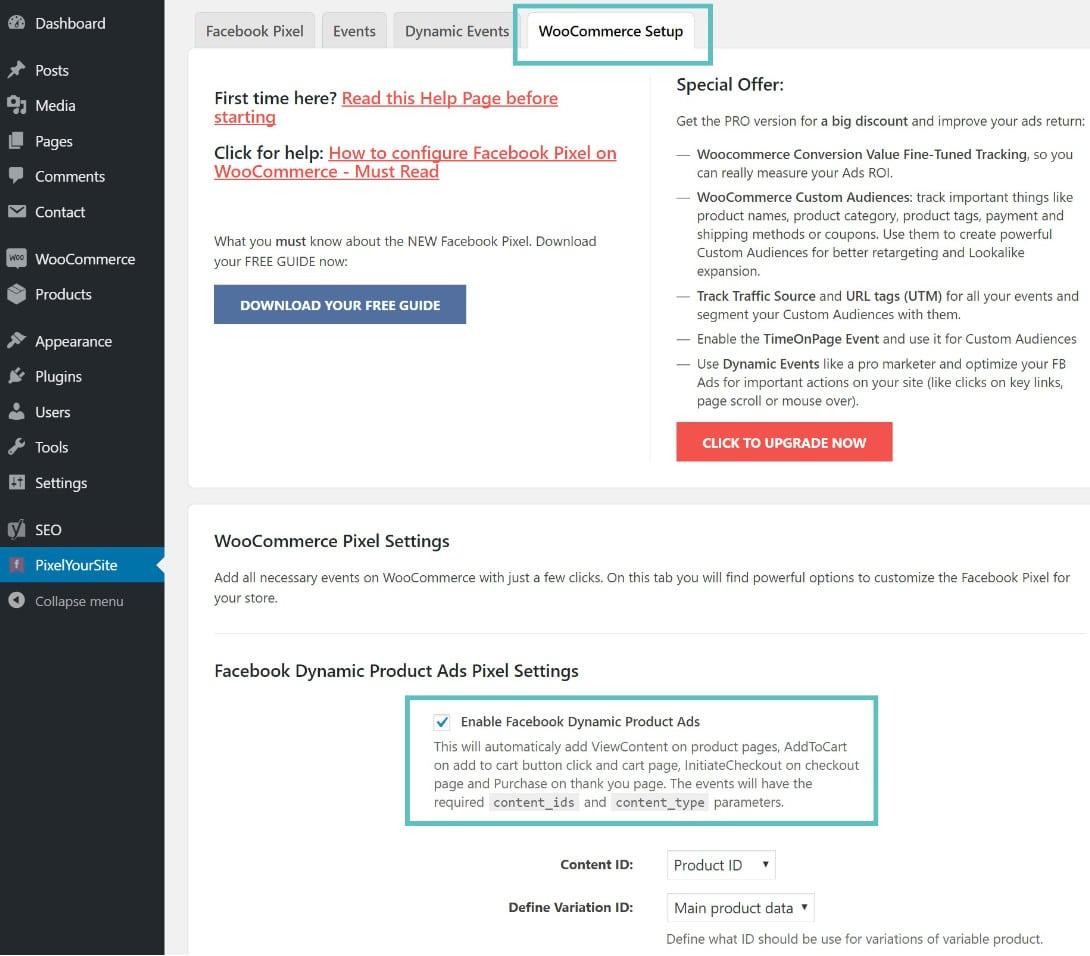 WooCommerce-inställning för FaceBook-pixel