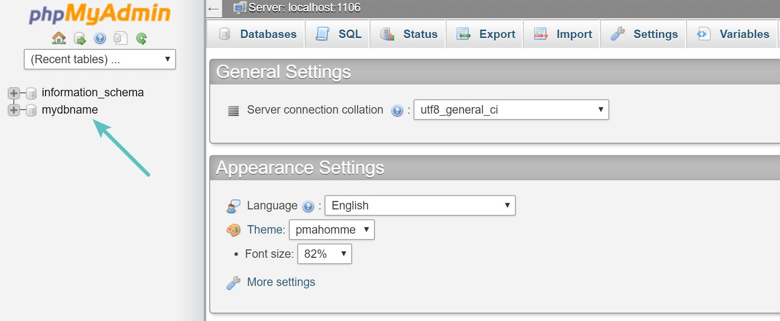 cPanel databas-namn