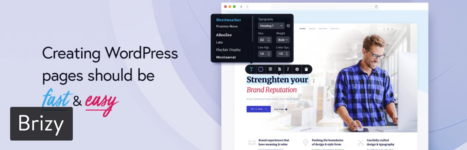 Brizy WordPress-sidbyggarplugin