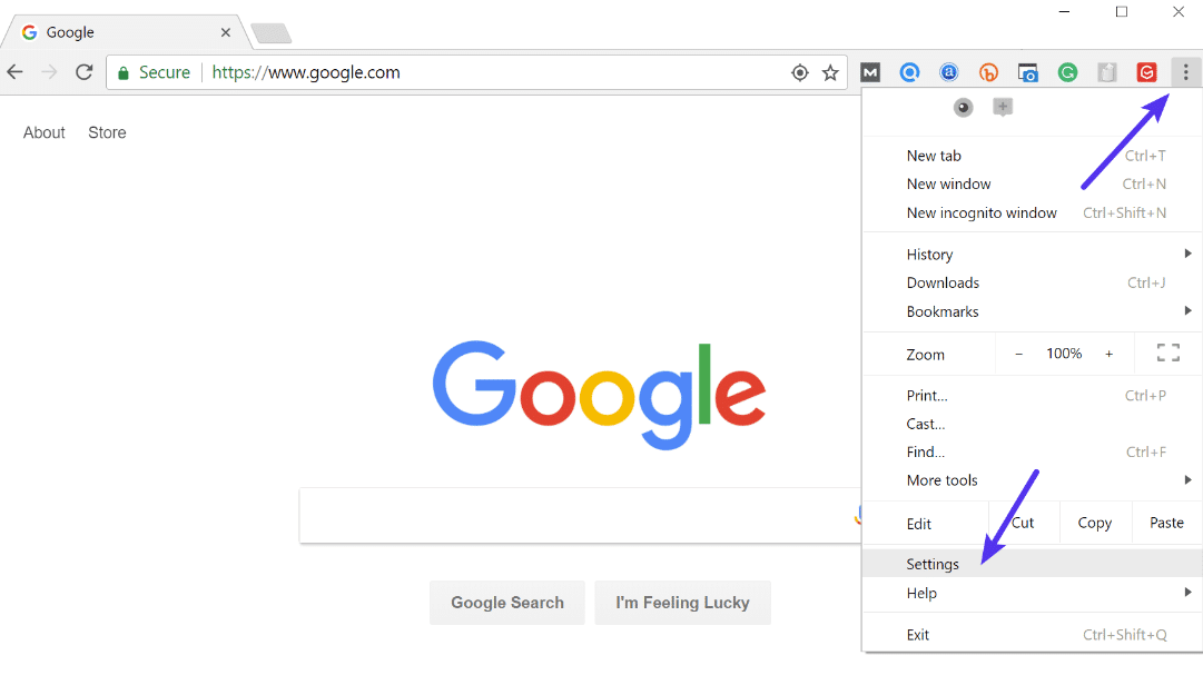 Chrome-inställningar