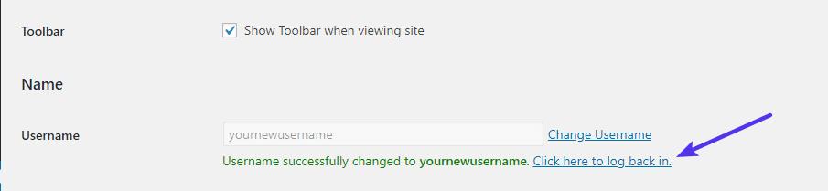 Om du har ändrat ditt eget användarnamn måste du logga in igen
