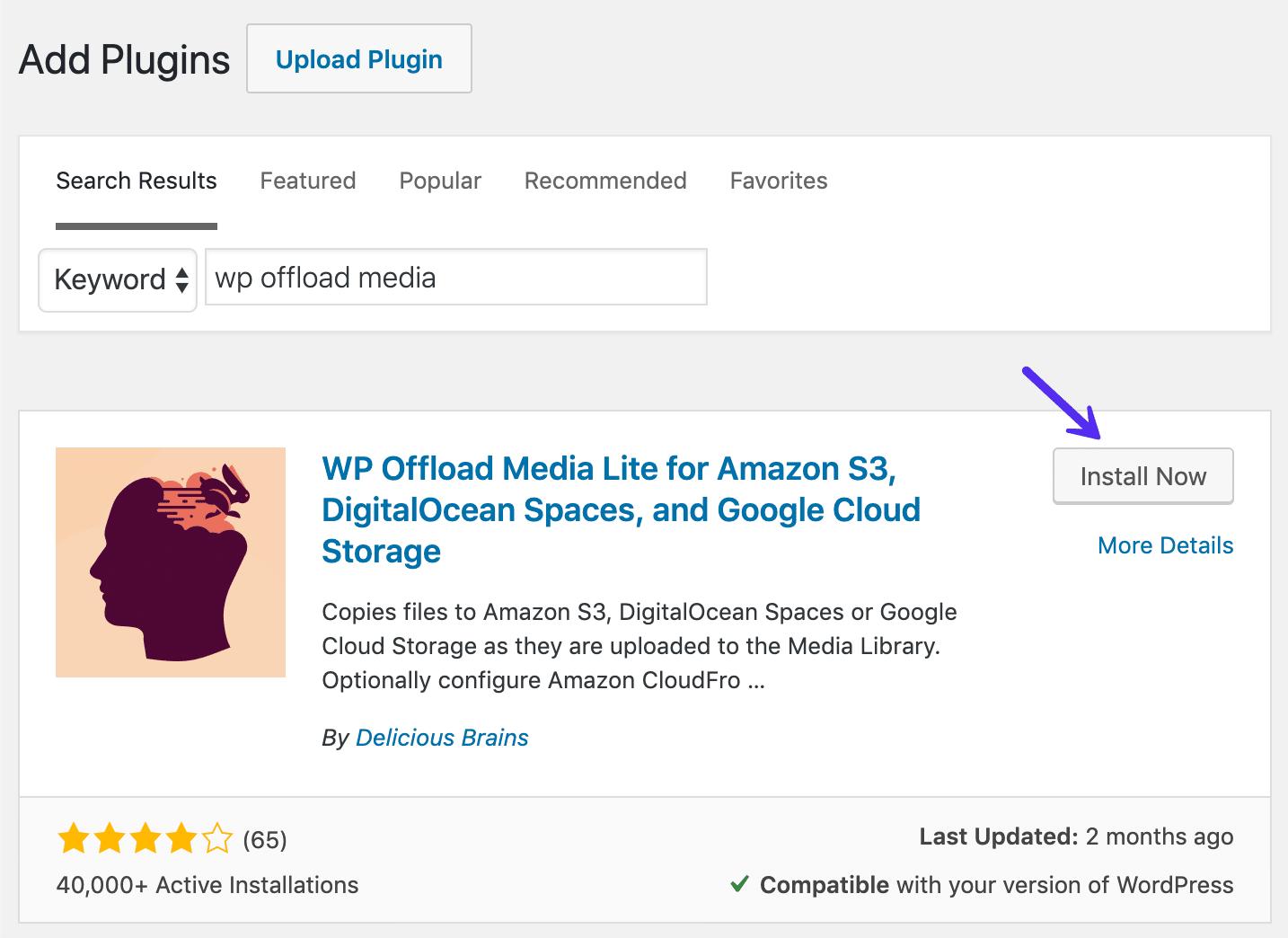 Installera WP Offload Lite WordPress plugin