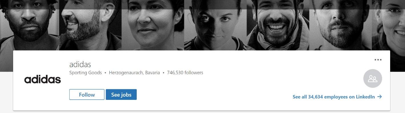 Adidas LinkedIn omslagsfoto exempel