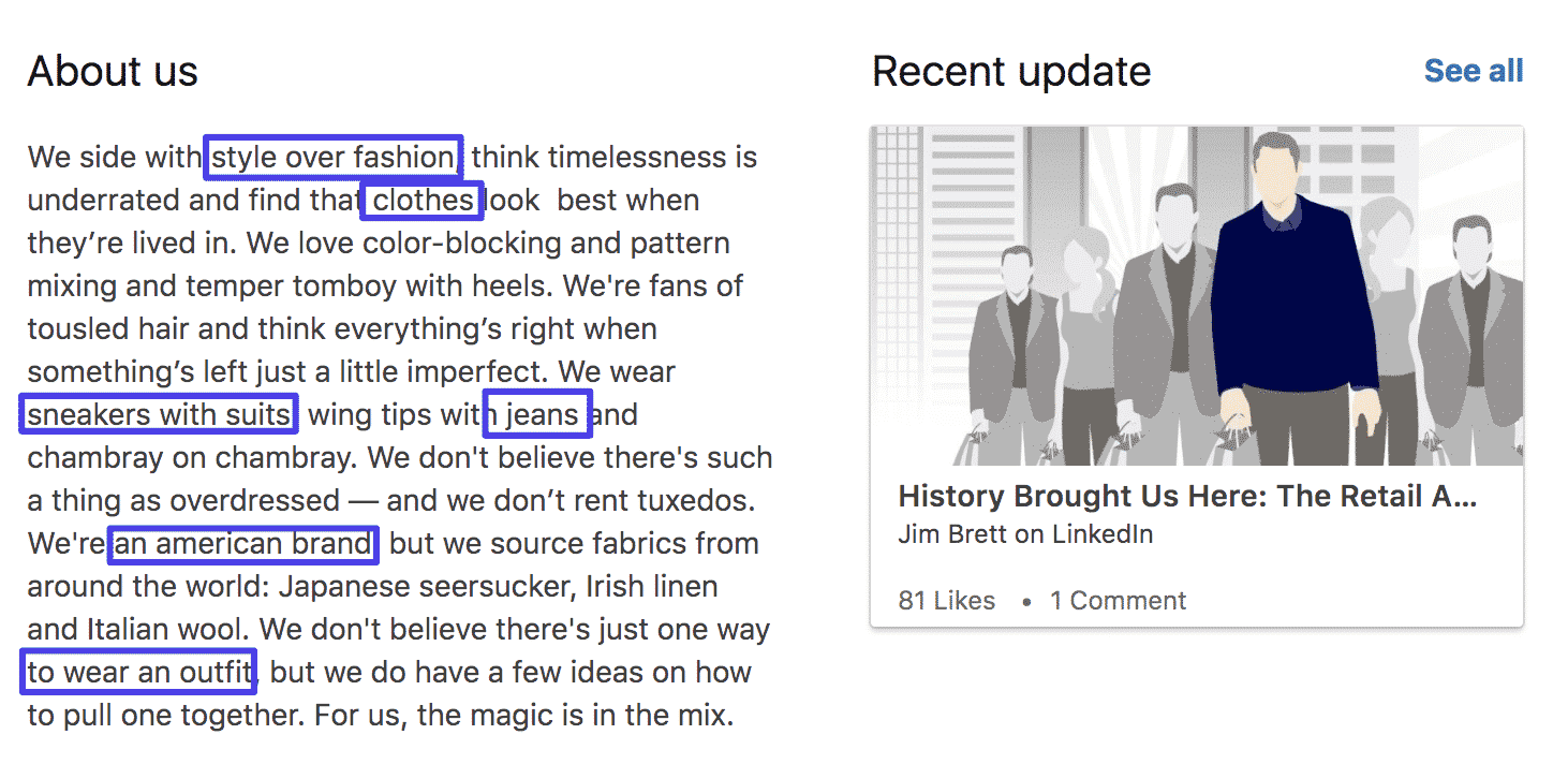LinkedIn om oss-sektion reklamtext