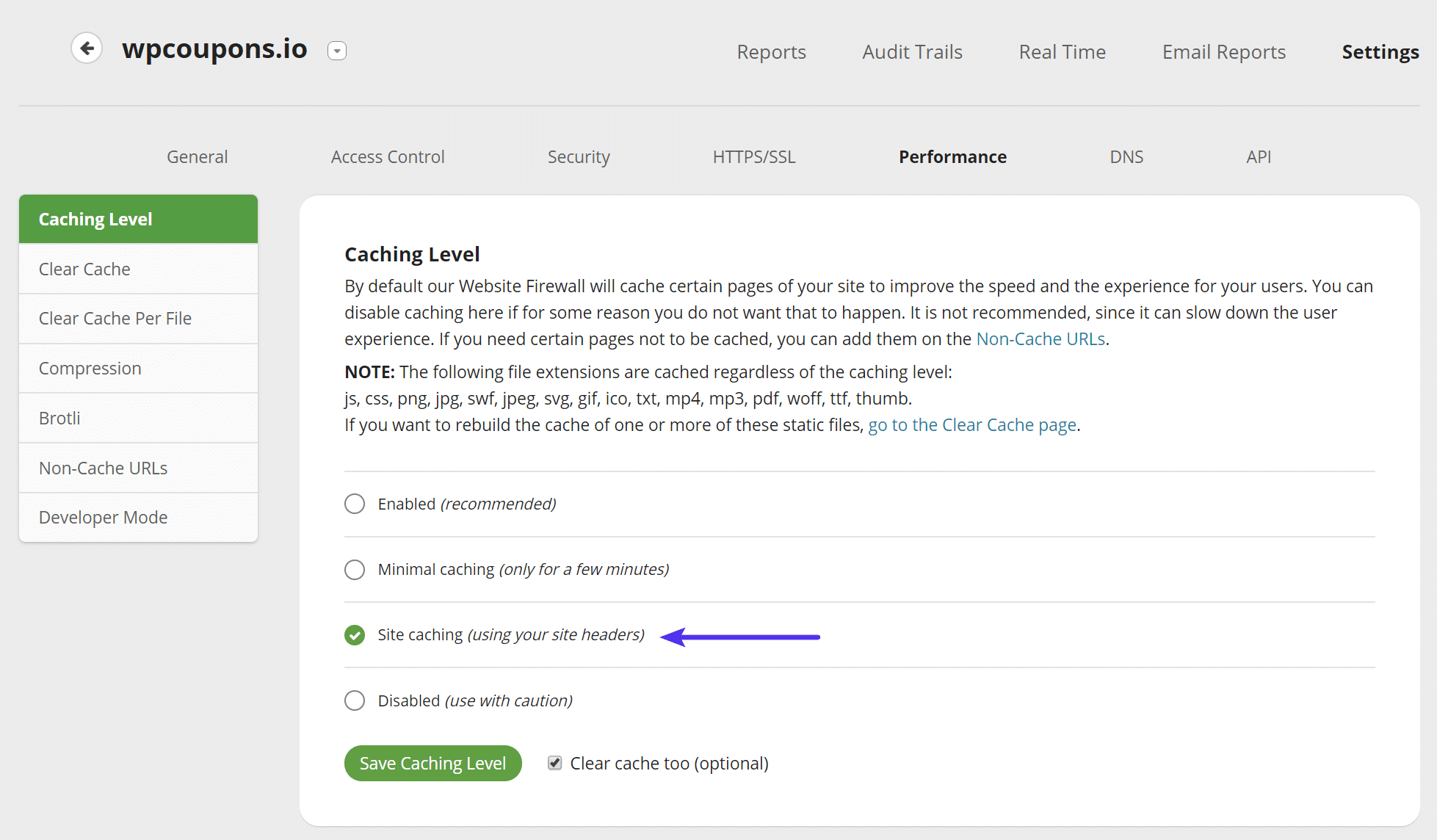 Sucuri webbplats-cachning