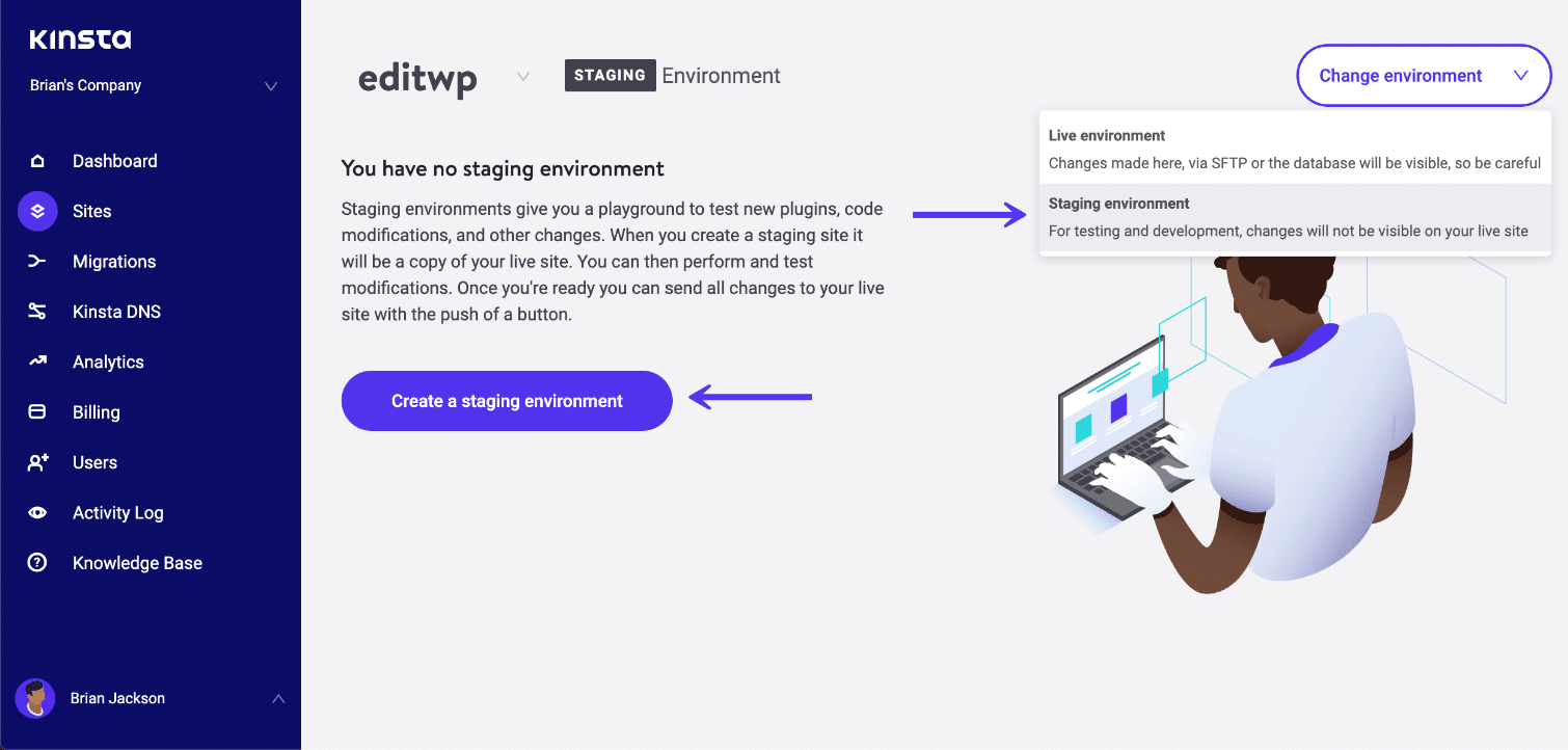 WordPress staging-miljö
