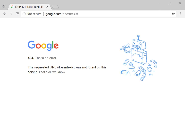 Google 404-felsida