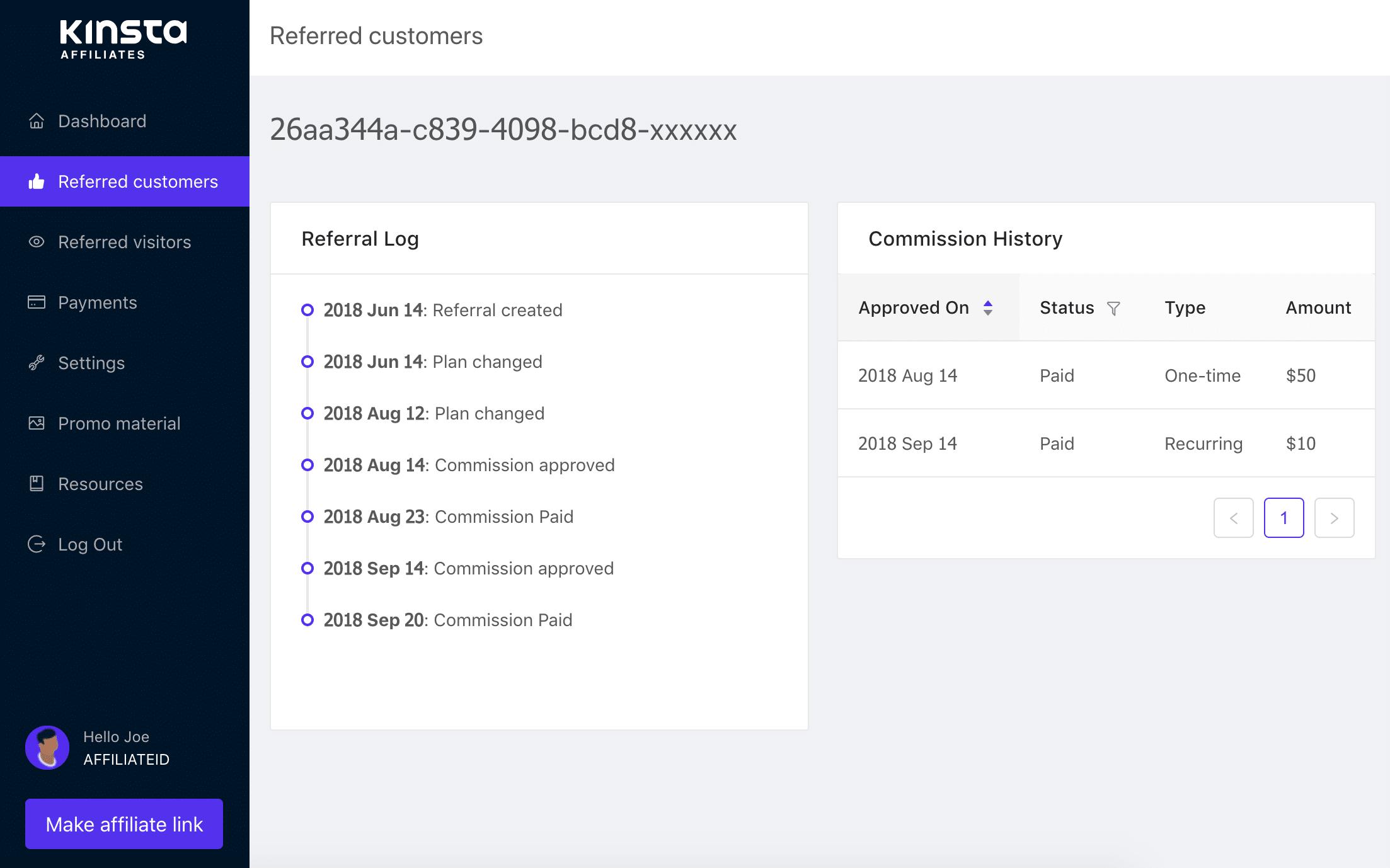 Kinsta affiliatesystem hänvisade kunder