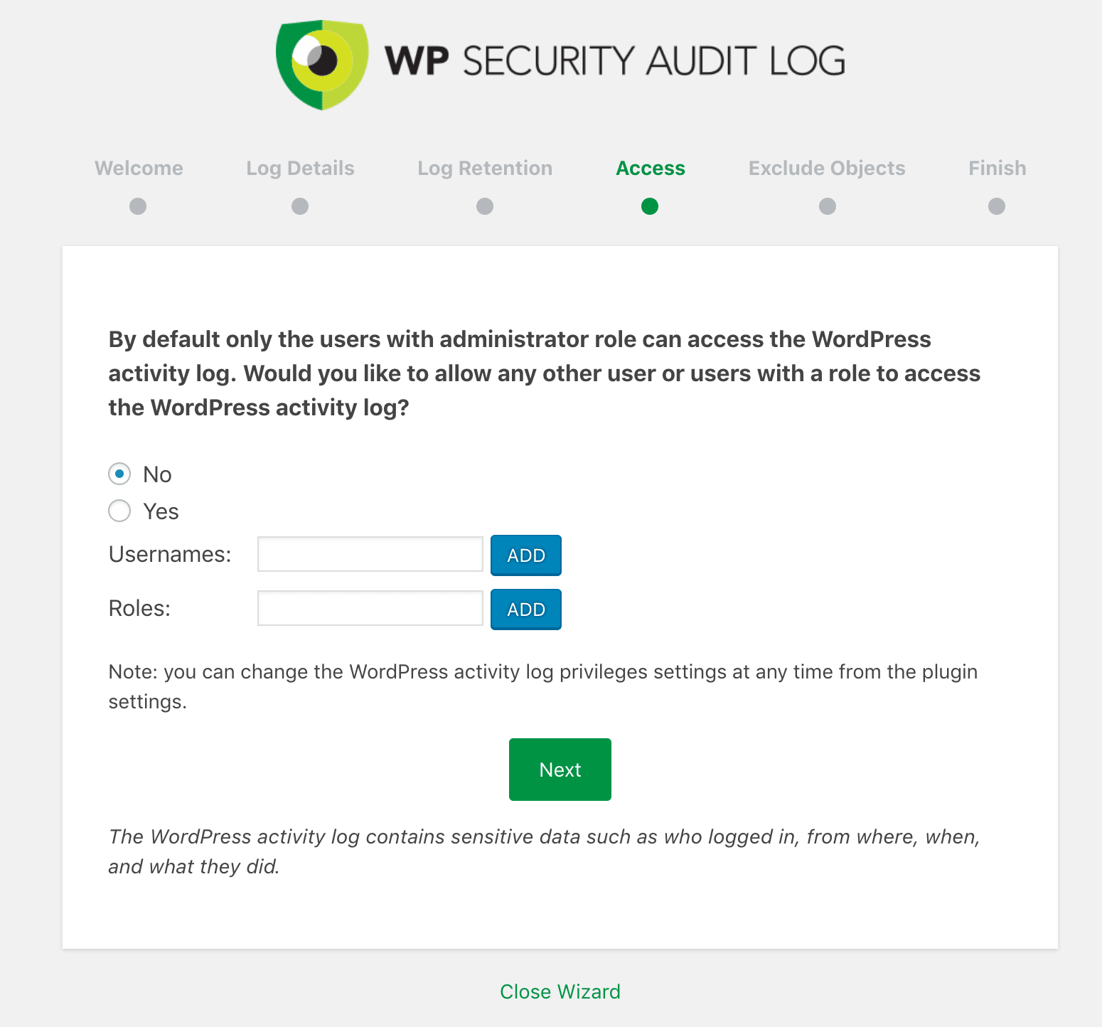 WP Security Audit Log åtkomst