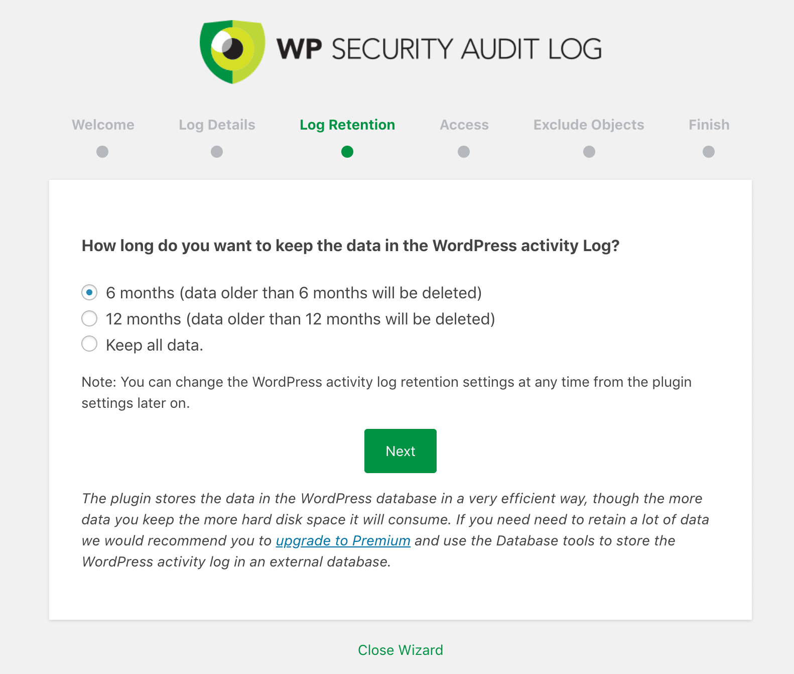WP Security Audit Log datalagring