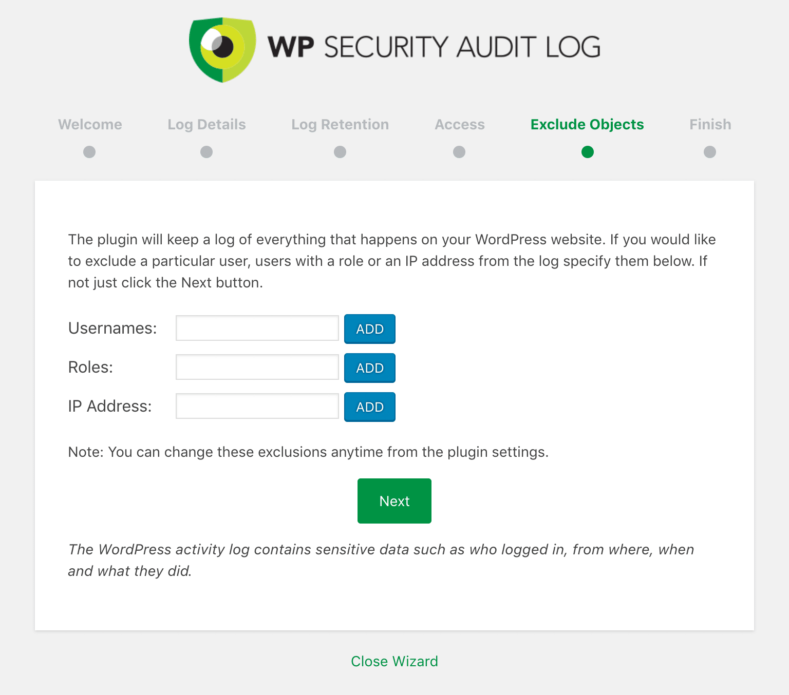 WP Security Audit Log exkludera objekt