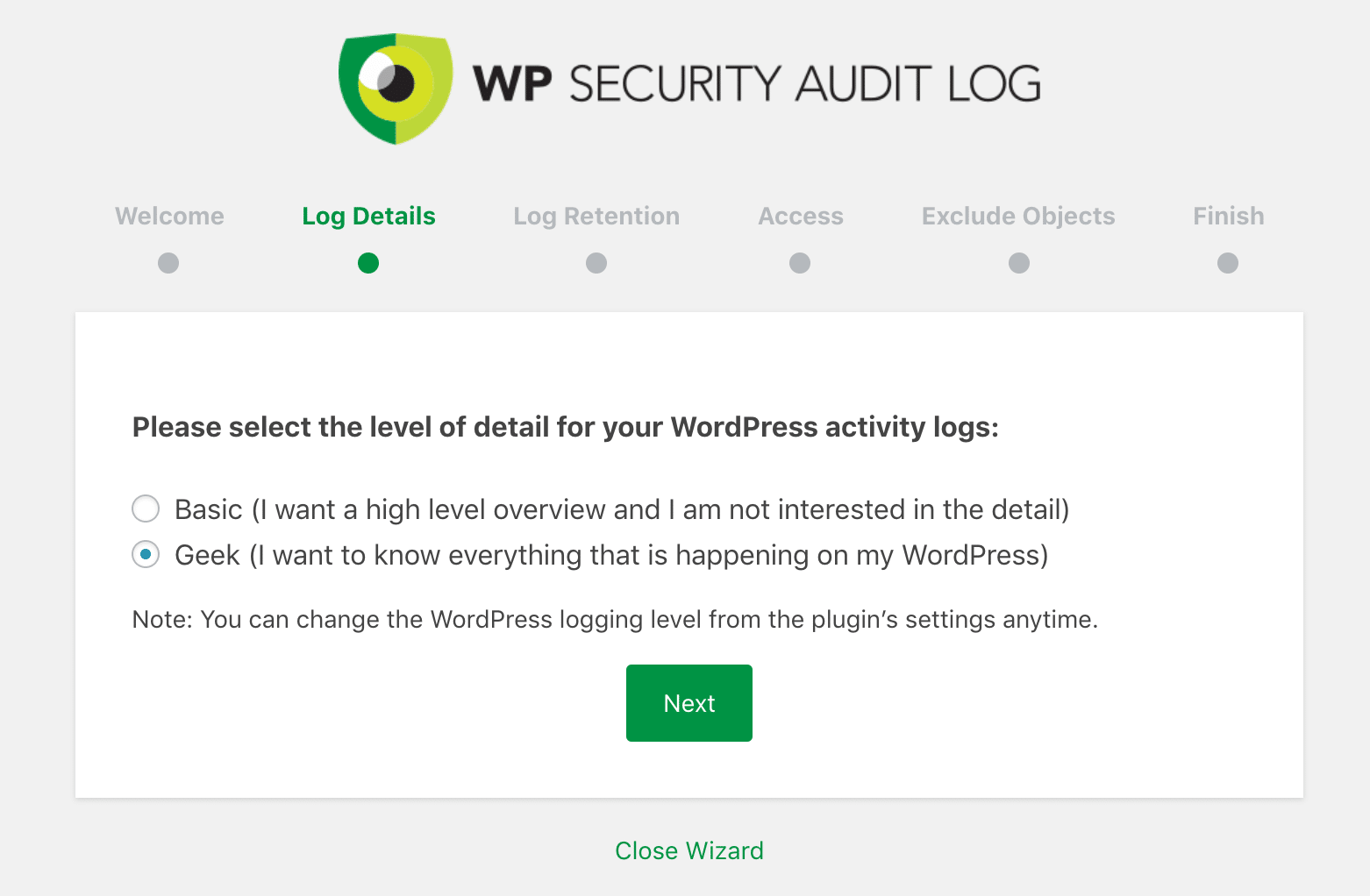 "WP Security Audit Log-inställningar: ""Nörd"""