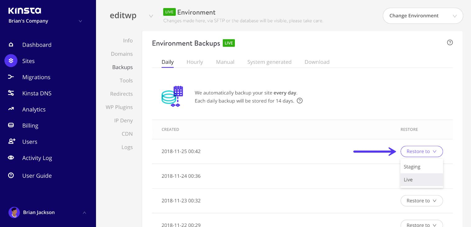 Återställ WordPress-säkerhetskopiering