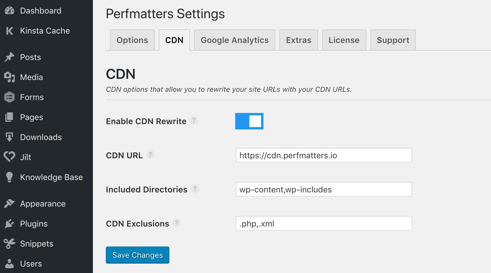Aktivera CDN på WordPress med Perfmatters