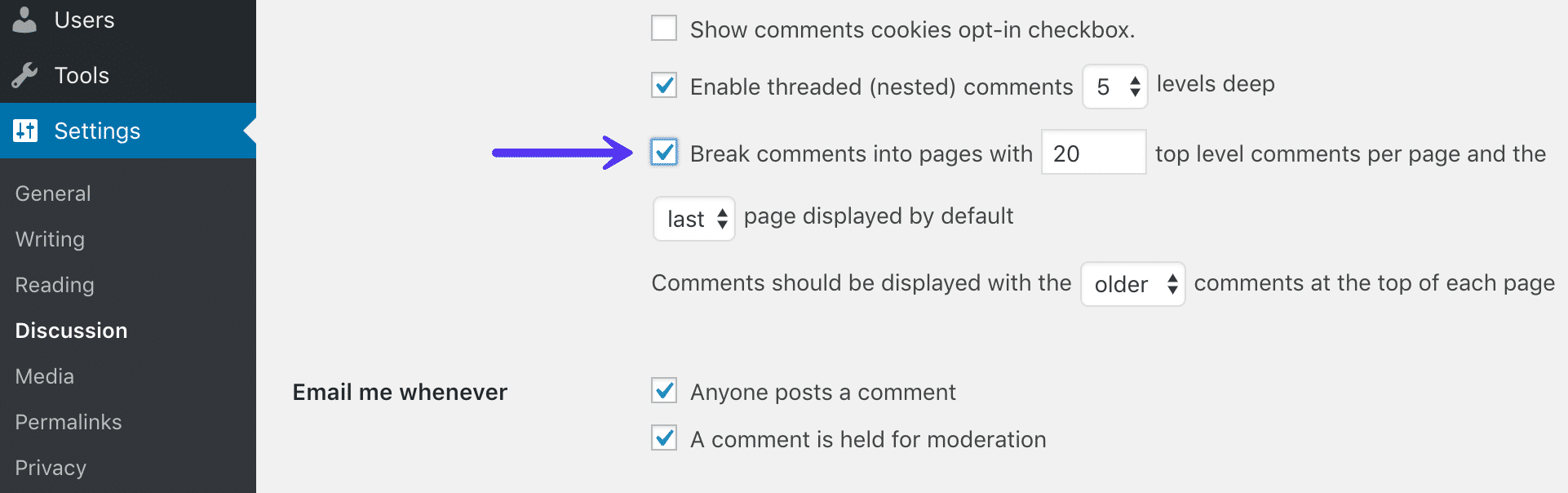 Dela upp kommentarer i sidor