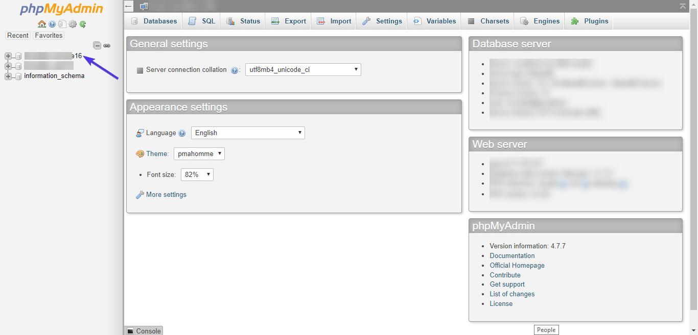 phpMyAdmin databasen