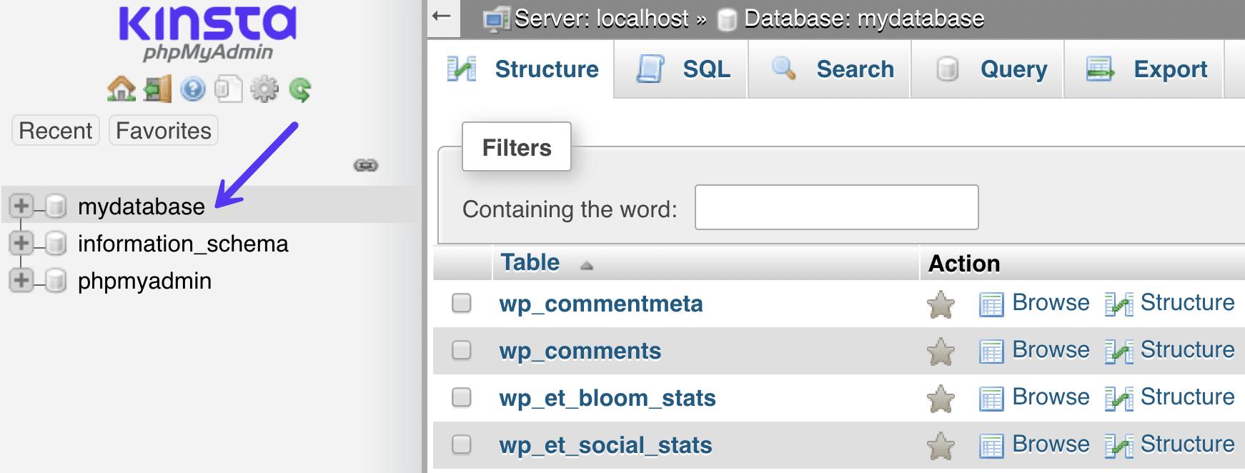 phpMyAdmin-databasen