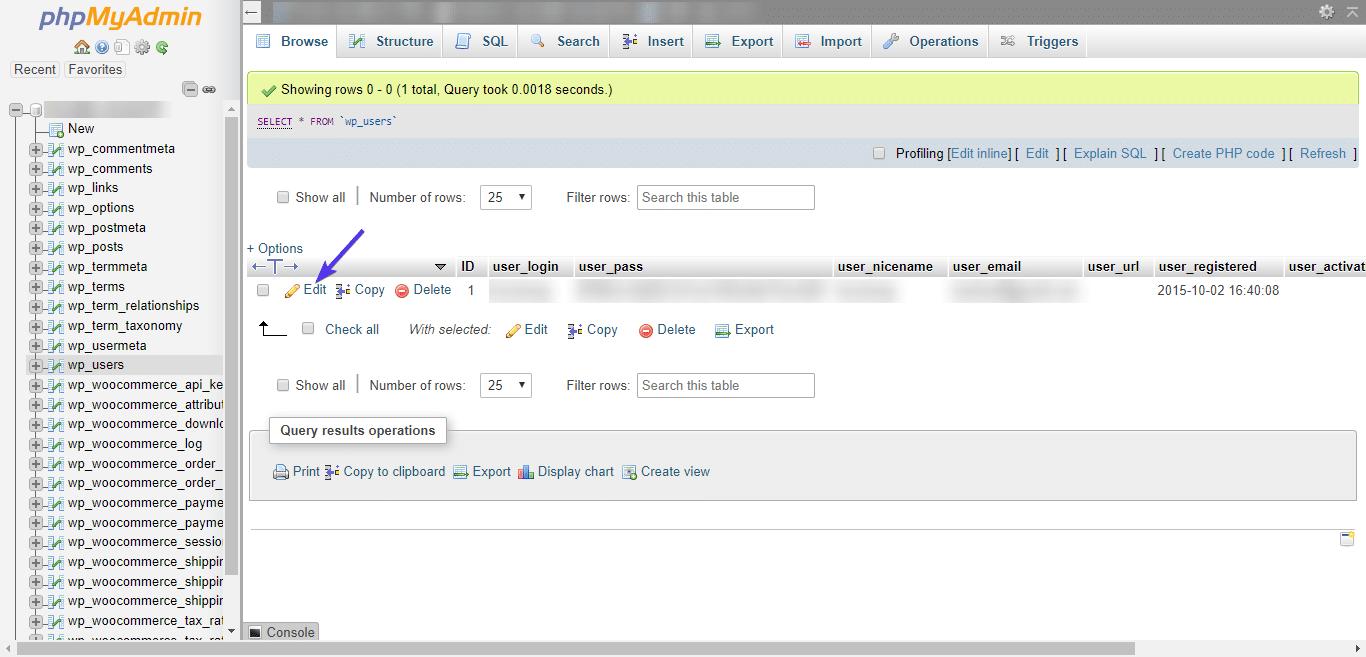 Redigera admin-användare i phpMyAdmin