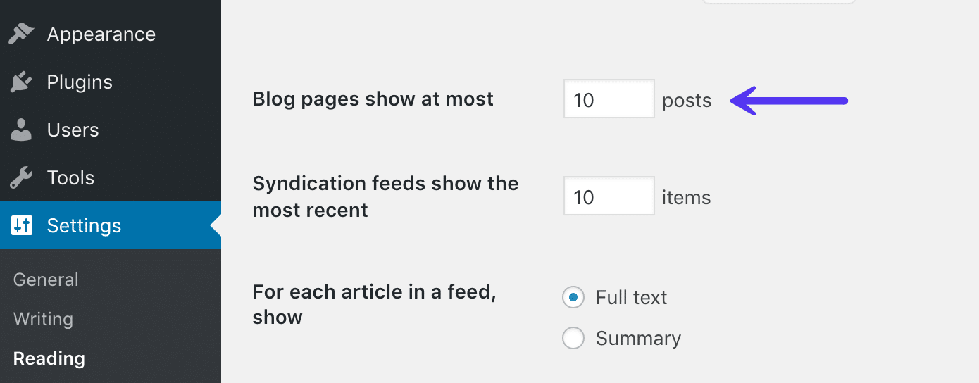 WordPress begränsa bloggfeed