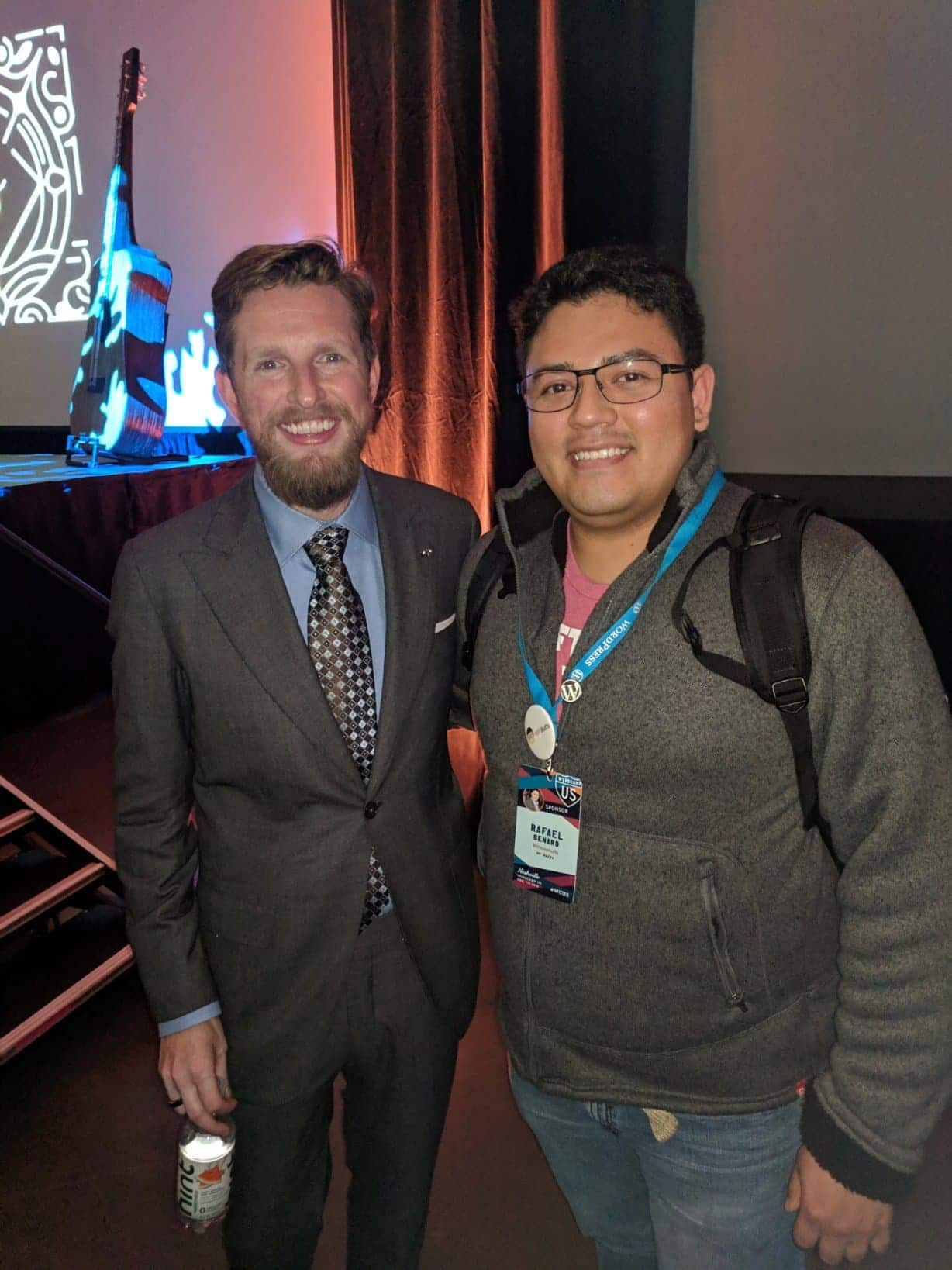 Rafael Benard (Kinsta) with Matt Mullenweg