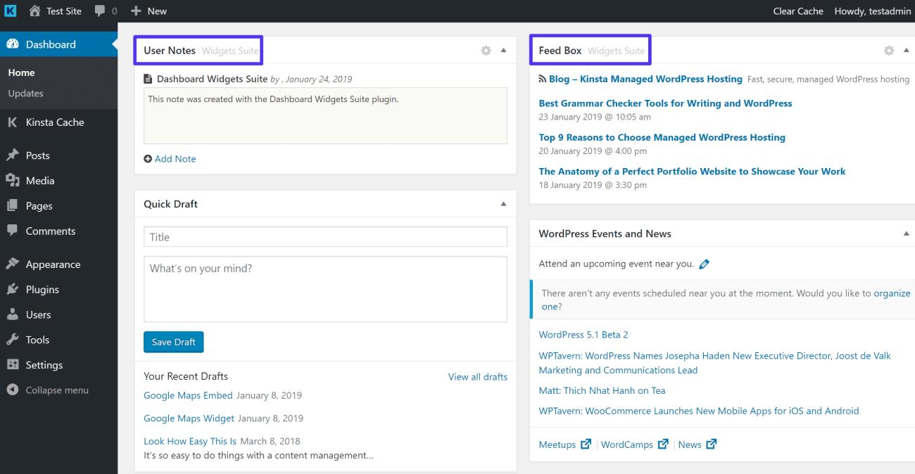 Exempel på widgets från Dashboard Widgets Suite