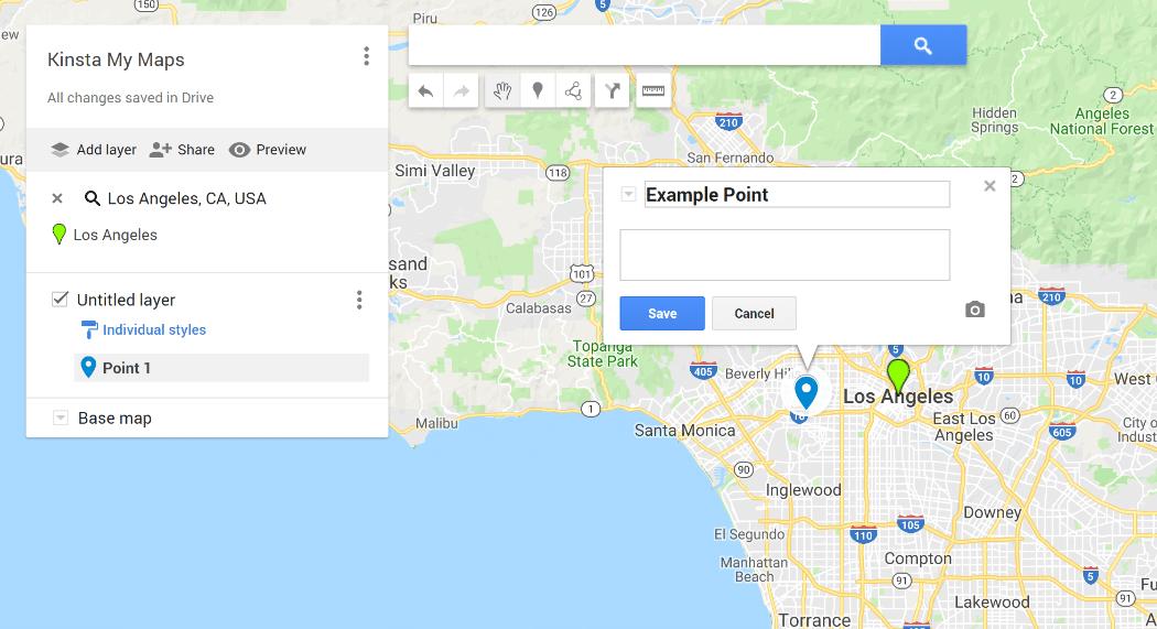 Gränssnittet för Googles Mina Kartor