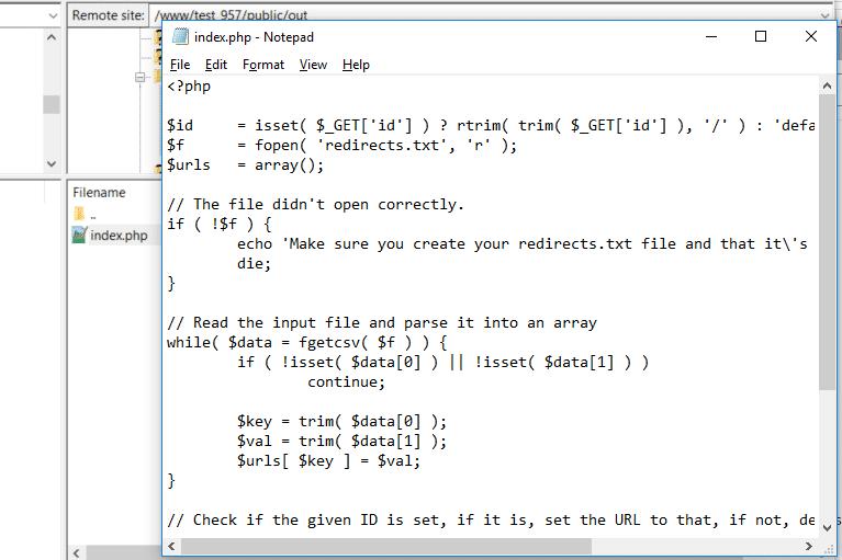 Lägg till index.php-filen tillsammans med koden från GitHub