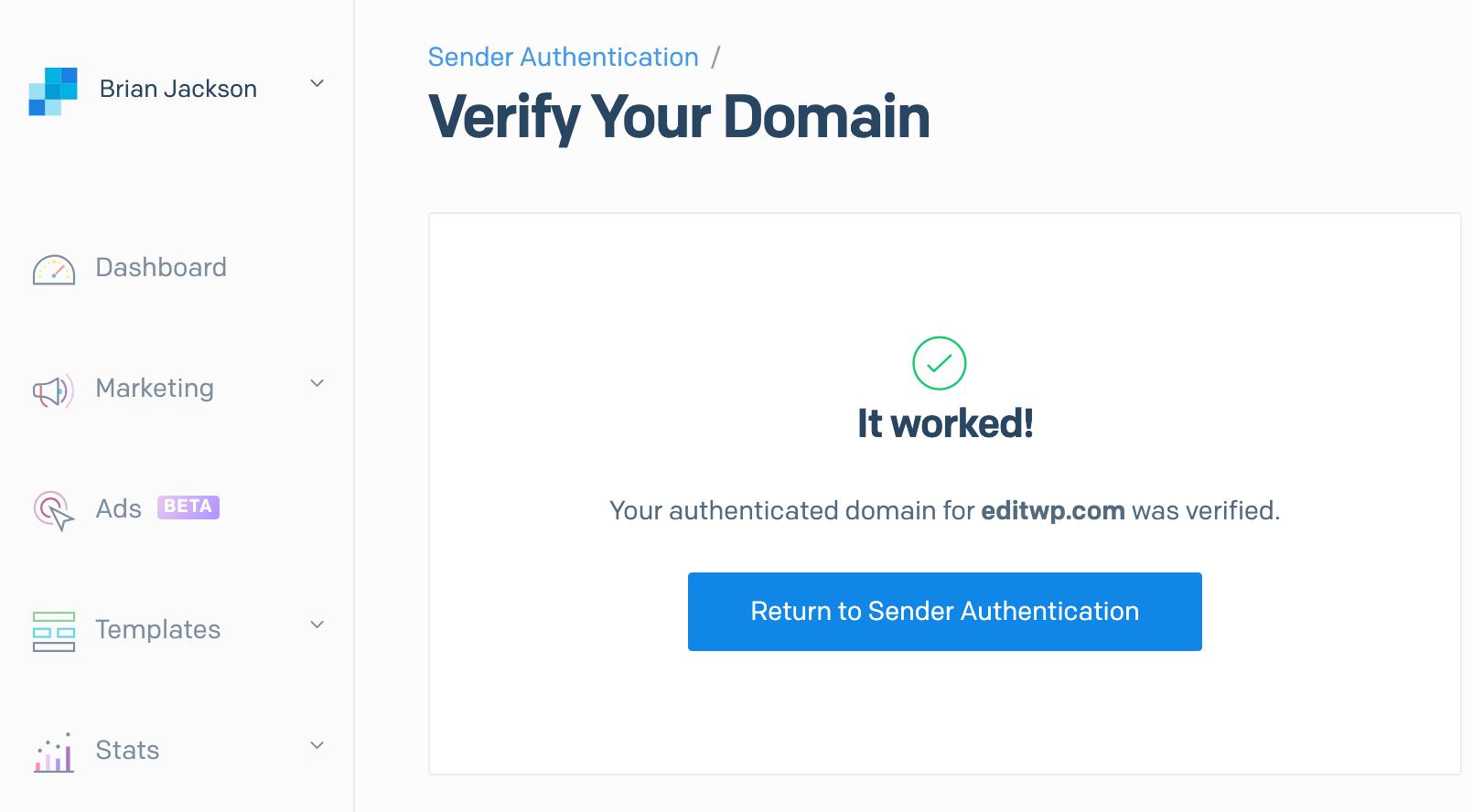 SendGrid är verifierat
