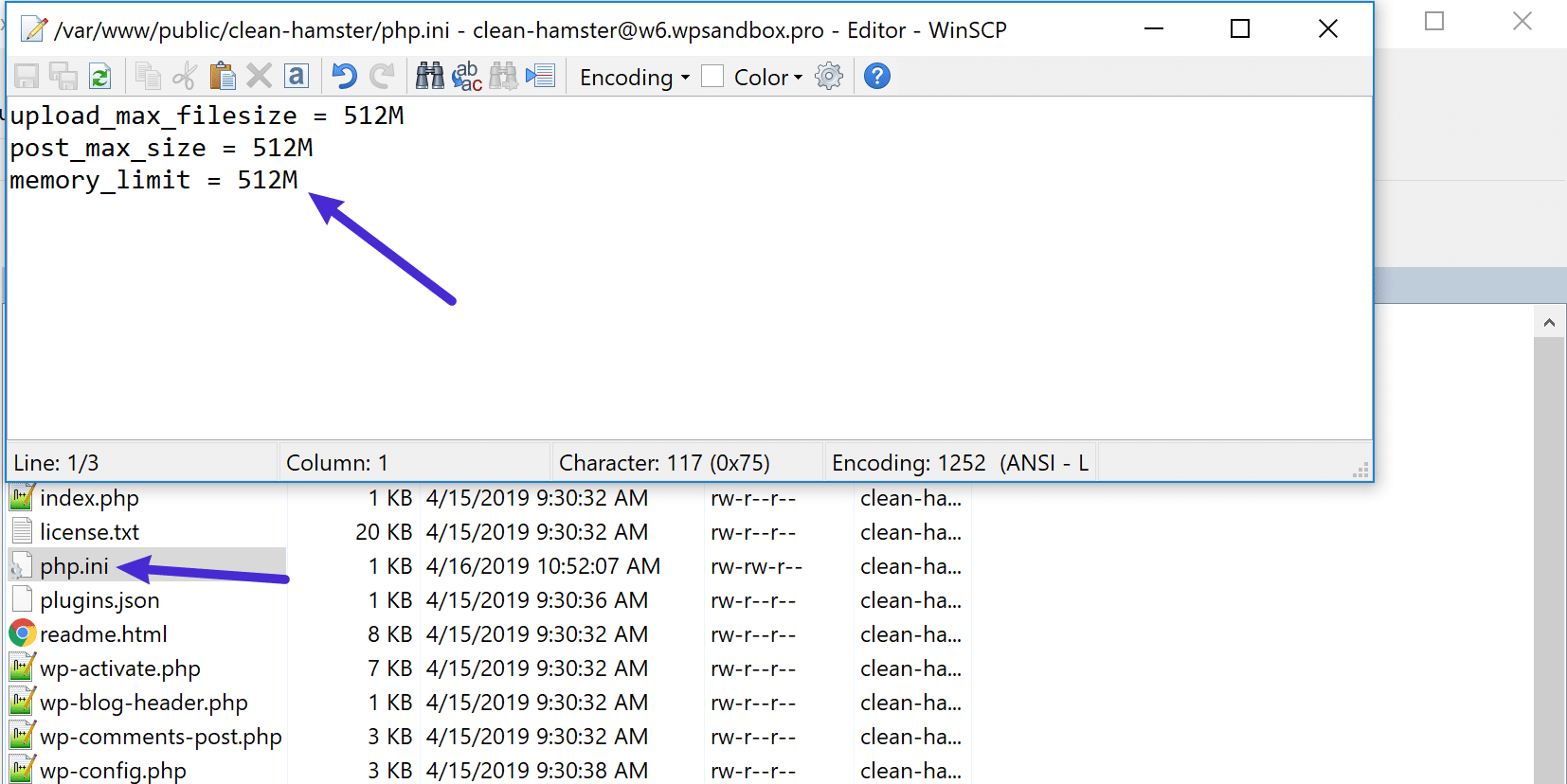 Lägg till koden till php.ini-filen