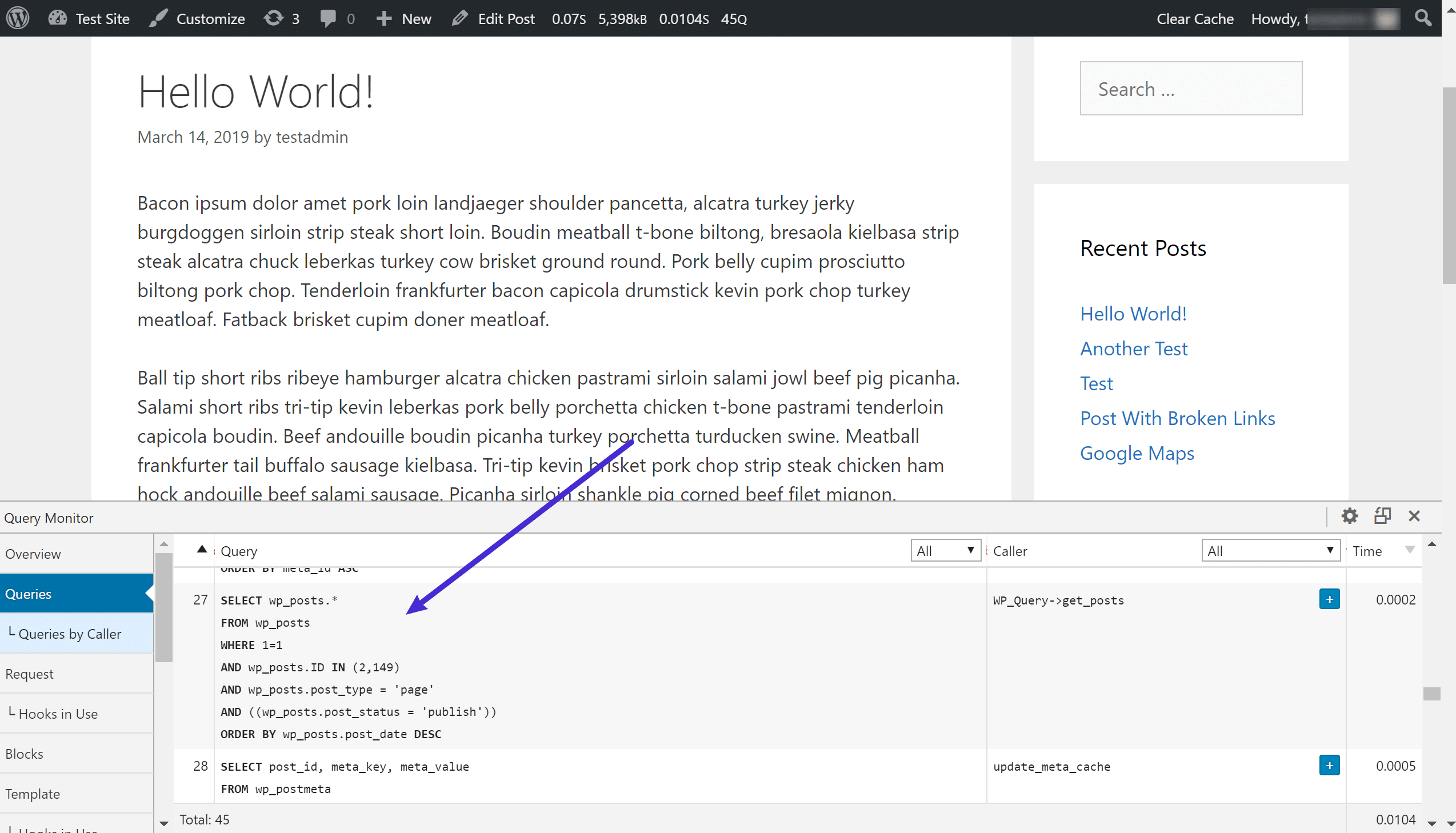 Pluginet Query Monitor visar individuella SQL-förfrågningar som skickas till MySQL-servern