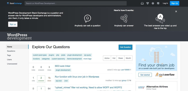 WordPress på Stack Exchange