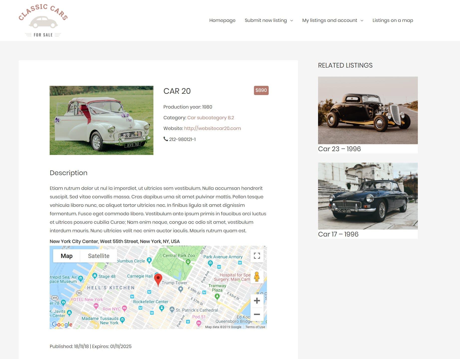 Exempel på en katalogwebbplats byggd på WordPress