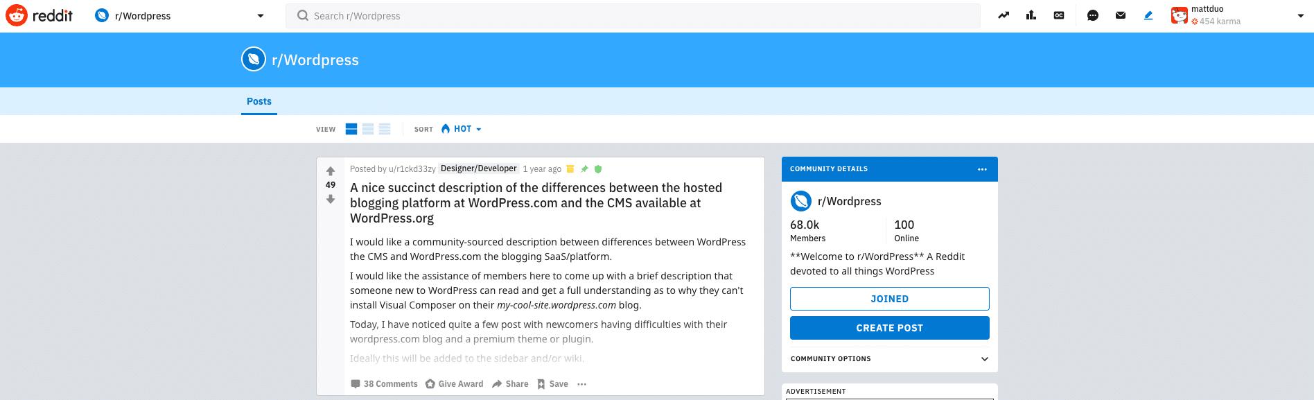 WordPress på Reddit
