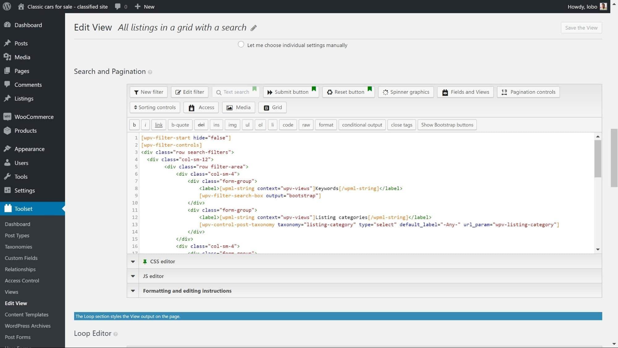 Sök och sidnumrering med filter och HTML