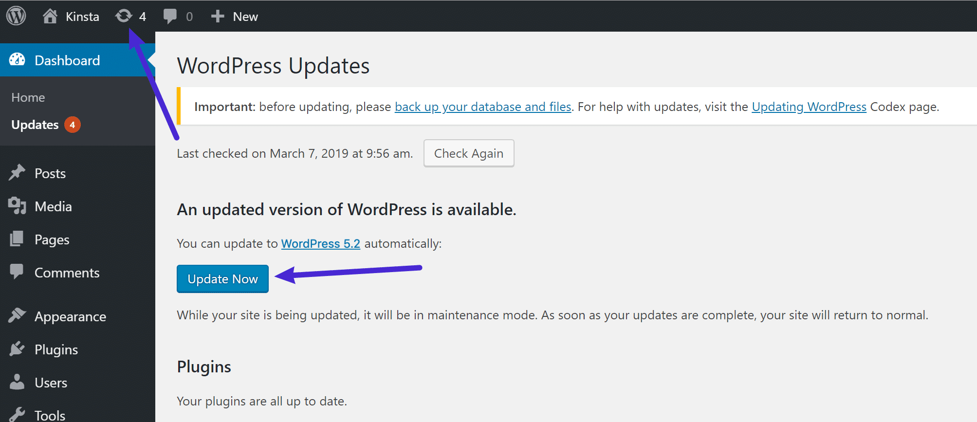 Uppdatera till WordPress 5.2 i instrumentpanelen