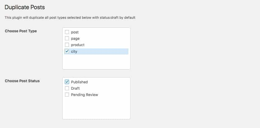 Bulk Duplicate-Inställningar - inläggstyp och status