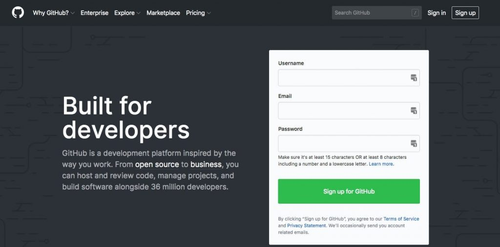 Webbplatsen GitHub