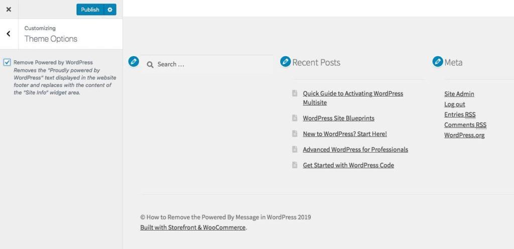 """Powered by WordPress"" tas inte bort från temat Storefront"