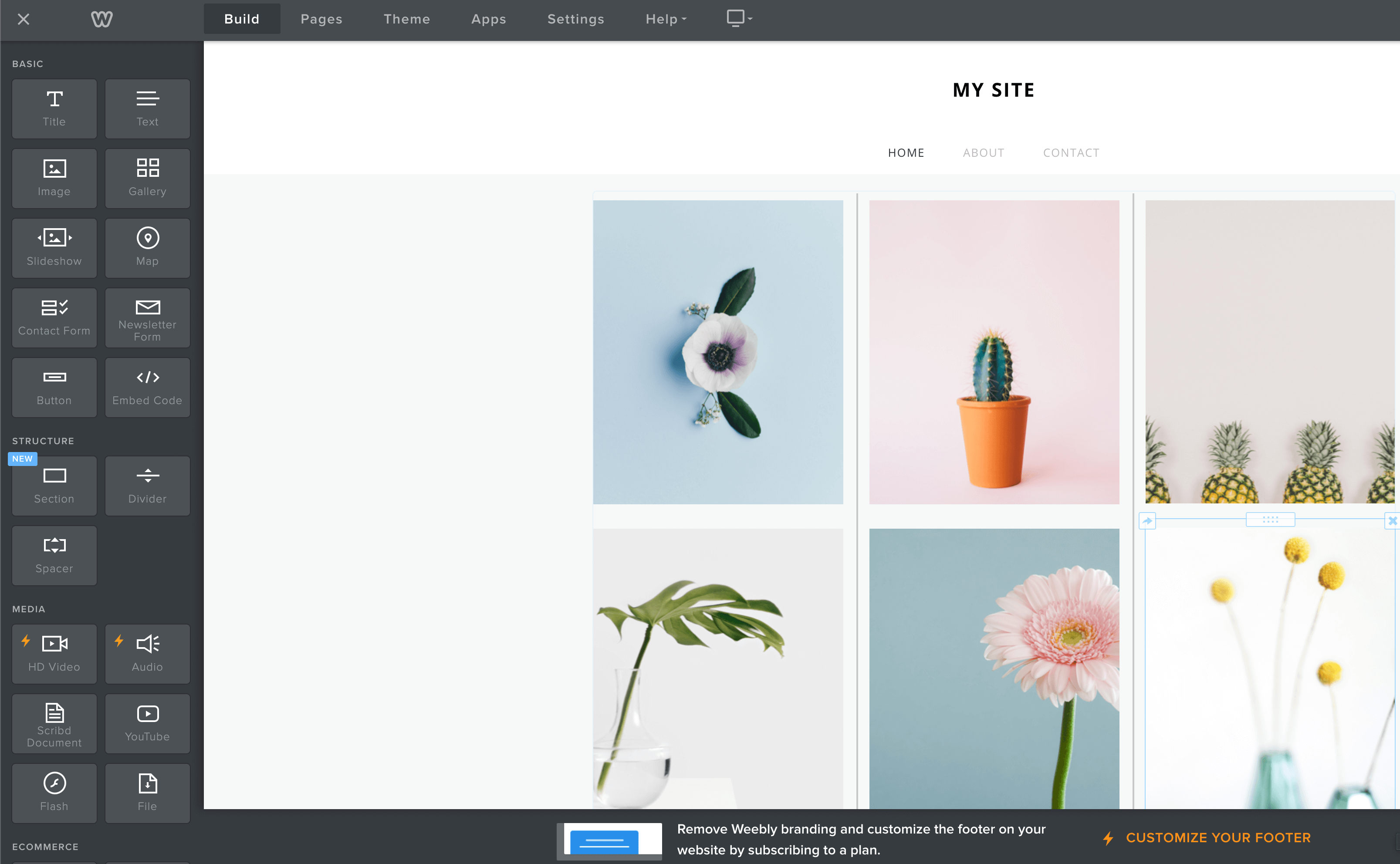 Weebly webbplatsskapande