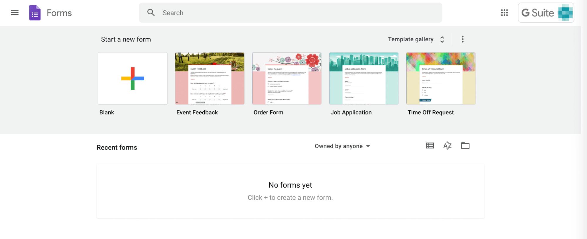 Google Formulärs gränssnitt