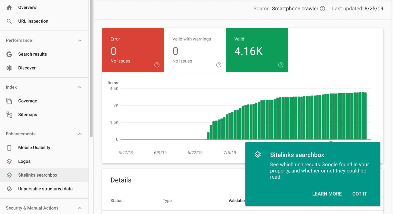 Google webbplatslänkar sökruta
