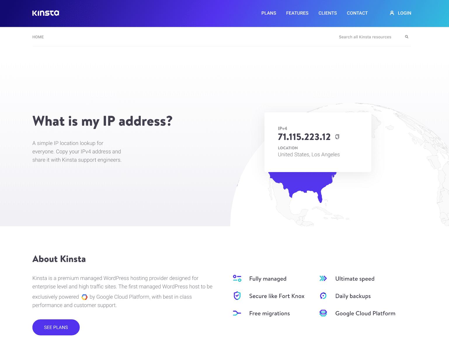 Kinstas offentlig IP-sökverktyg