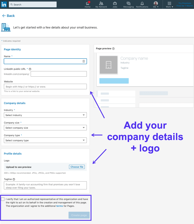 Lägga till information på din företagssida på LinkedIn