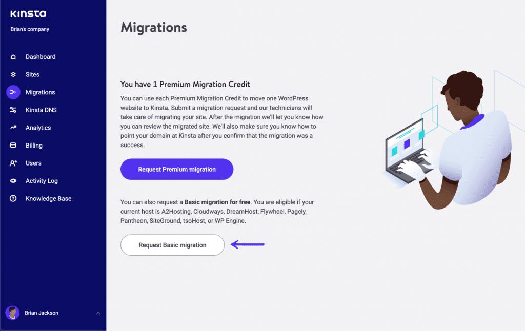 MyKinsta grundläggande migreringar