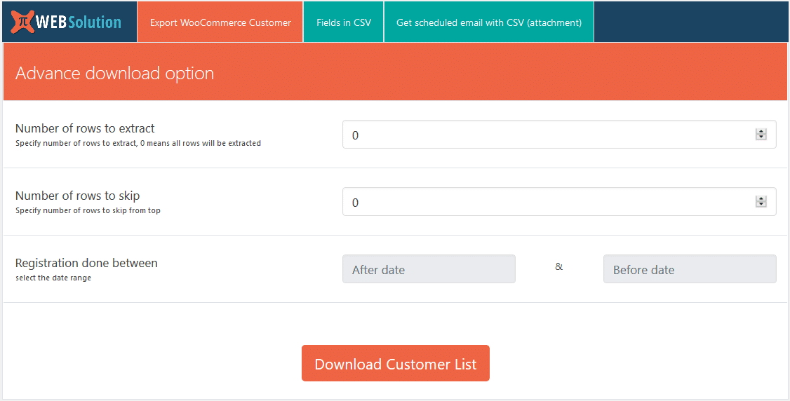 WooCommerce Export Customer List CSV-pluginet