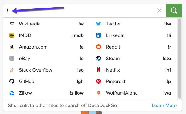 Bang-sökning med DuckDuckGo