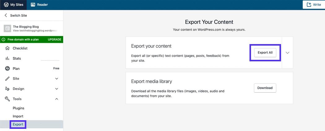 Klicka på knappen Exportera allt