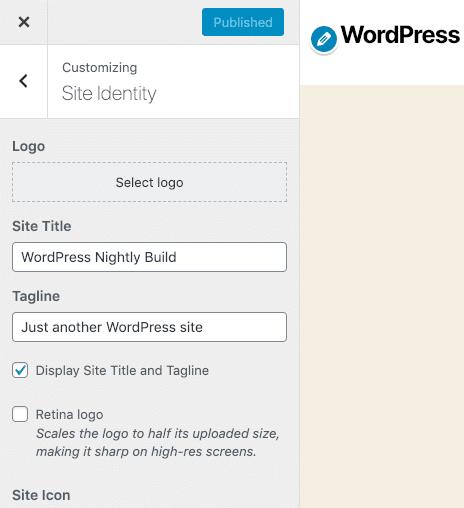 Webbplatsidentitet i Customizer-inställningar
